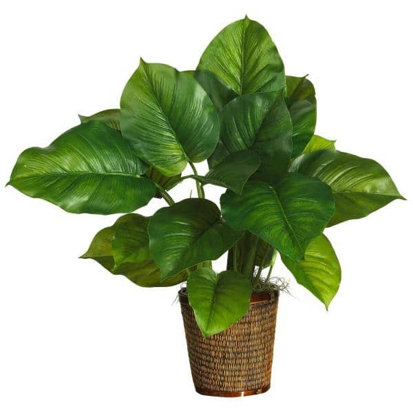 Nearly Natural 29 In Large Leaf Philodendron Silk Plant Real Touch 6582 0306 The Home Depot