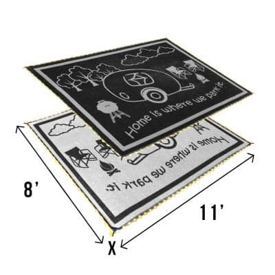LED Illuminated 8' x 11' Patio/RV Reversible Floor Mat- Black/White