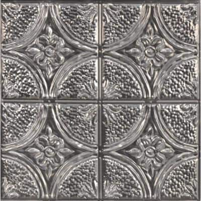 Camden 21 in. x 21 in. Antique Silver Faux Tin Peel and Stick Backsplash Tiles