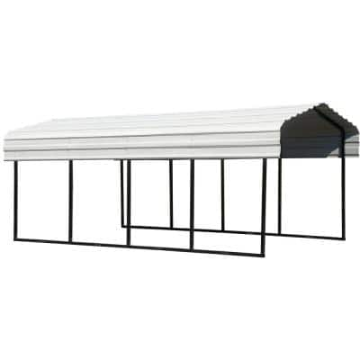 10 ft. W x 20 ft. D Eggshell Galvanized Steel Carport, Car Canopy and Shelter