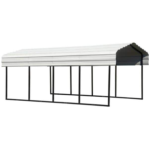 Arrow 10 Ft W X 20 Ft D Eggshell Galvanized Steel Carport Car Canopy And Shelter Cph102007 The Home Depot