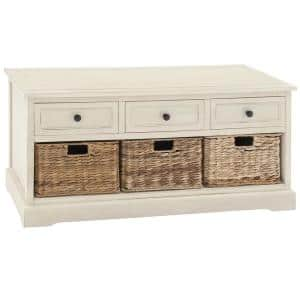 20 in. Antique White Wooden Accent Cabinet with 3-Wicker Basket and 3-Slide Out Drawers