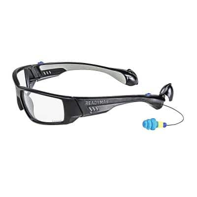 Pro Series 1 Safety Glasses Black Frame Clear Lens with NRR 25 db Silicone PermaPlugs