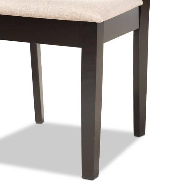 Baxton Studio Fenton Sand And Dark Brown Upholstered Dining Chair Set Of 2 176 2p 11378 Hd The Home Depot