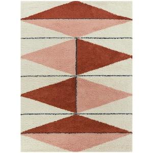 Levine Burnt Orange 8 ft. x 10 ft. Geometric Shag Area Rug