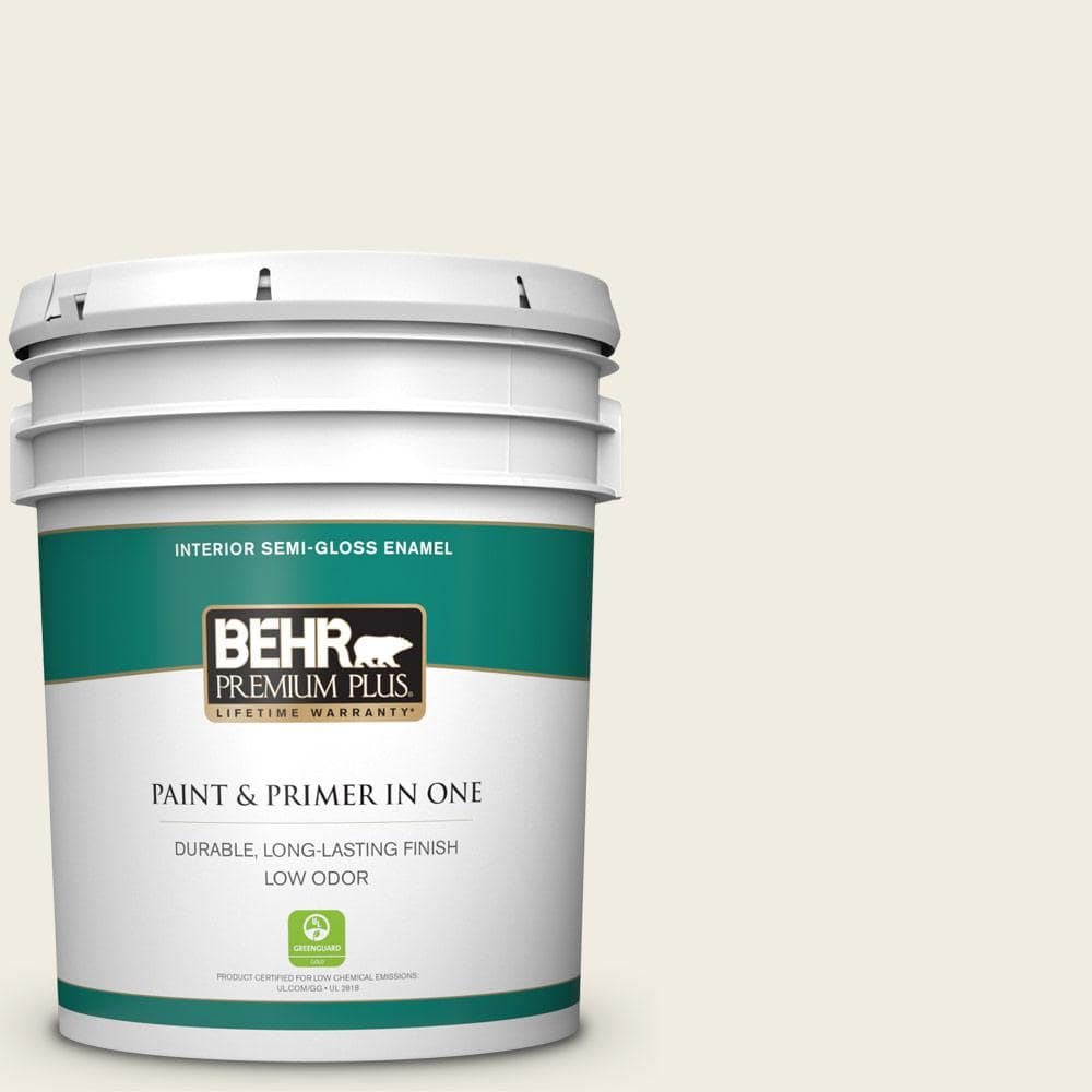 Behr Premium Plus 5 Gal 12 Swiss Coffee Semi Gloss Enamel Low Odor Interior Paint And Primer In One 305005 The Home Depot