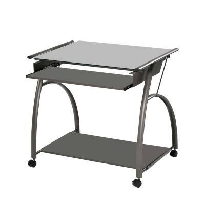 Amelia 30 in. Clear Pewter Metal Tube Computer Desk
