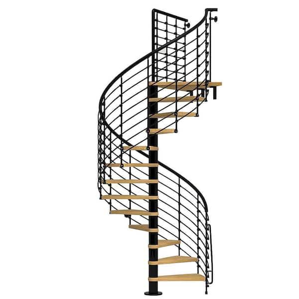Arke Oak70 Xtra 63 In Black Spiral Staircase Kit K26127 The Home Depot