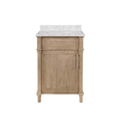 Aberdeen 24 in. W x 22 in D Vanity in Antique Oak with Carrara Marble Vanity Top in White with White Basin