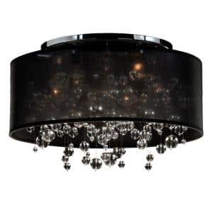 Silhouette 21 in. 5-Light W Black Drum Shaded Beaded Crystal and Chrome Flush Mount