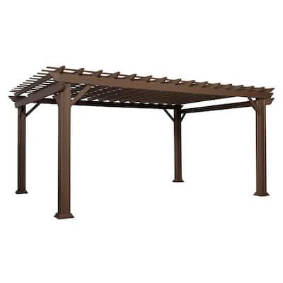 Ashford 16 ft. x 12 ft. Brown Steel Traditional Pergola