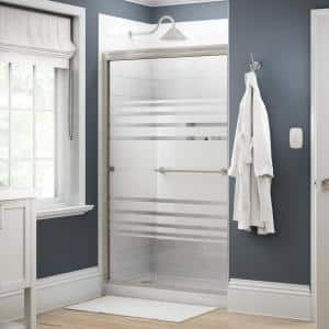Crestfield 48 in. x 70 in. Traditional Semi-Frameless Sliding Shower Door in Nickel and 1/4 in. (6mm) Transition Glass