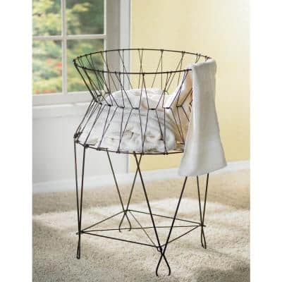 Vintage Wire Collapsible Laundry Basket Hamper