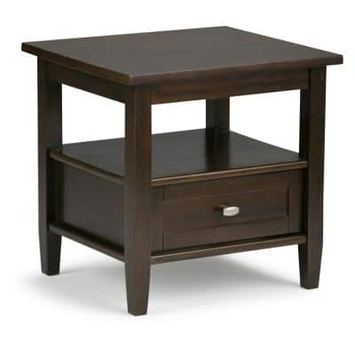 Lexington Solid Wood 20 inch Wide Rectangle Rustic End Side Table in Tobacco Brown