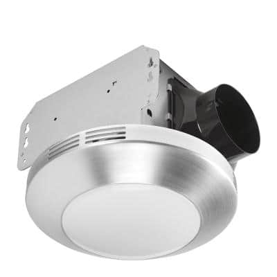 Decorative Brushed Nickel 80 CFM Ceiling Mount Bathroom Exhaust Fan with LED Light