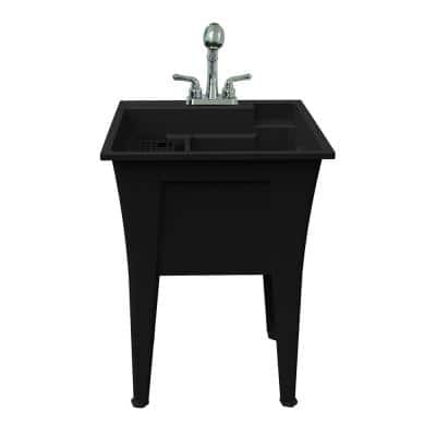24 in. x 22 in. Recycled Polypropylene Black Laundry Sink with 2 Hdl Non Metallic Pullout Faucet and Installation Kit