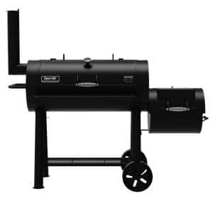Signature Heavy-Duty Barrel Charcoal Grill and Offset Smoker in Black