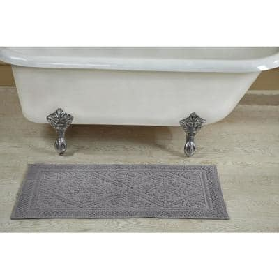 Provence Collection Grey 21 in. x 34 in. 100% Cotton Bath Rug