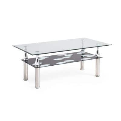 44 in. Clear/Black/Chrome Large Rectangle Tempered Glass Coffee Table with Shelf