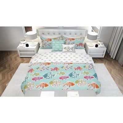 Marlin Fish 4-Piece Reversible Multi Colored Ultra-Soft Microfiber Twin Comforter Set