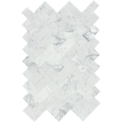 Link White 12.01 in. x 17.99 in. Herringbone Honed Marble Mosaic Tile (1.5 sq. ft./Each)