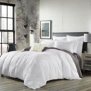 Courtney 3-Piece White Striped Plush Microfiber Full/Queen Comforter Set