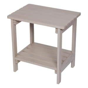 19.75 in. Tall Graystone HYDRO-TEX Finish Rectangular Cedar Wood Indoor/Outdoor Side Table