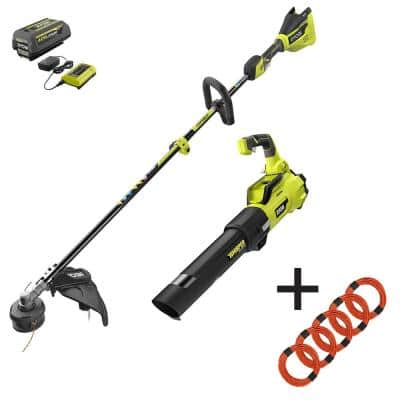 40V Brushless Cordless Battery String Trimmer and Leaf Blower w/ Extra 5-Pack of Pre-Cut Line, 4.0 Ah Battery & Charger
