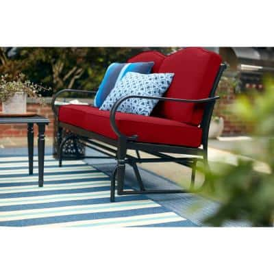 Laurel Oaks Dark Brown Steel Outdoor Patio Glider with CushionGuard Chili Red Cushions