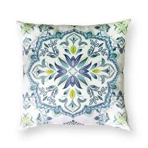18 in. Melita Medallion Square Outdoor Throw Pillow (2-Pack)