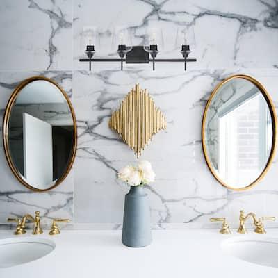 4-Light Matt Black Vanity Light Bathroom with Clear Glass Shades