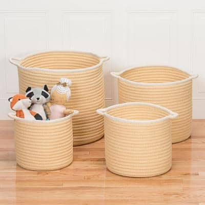 Sonoma 20 in. x 20 in. x 18 in. Yellow Round Polypropylene Braided Basket