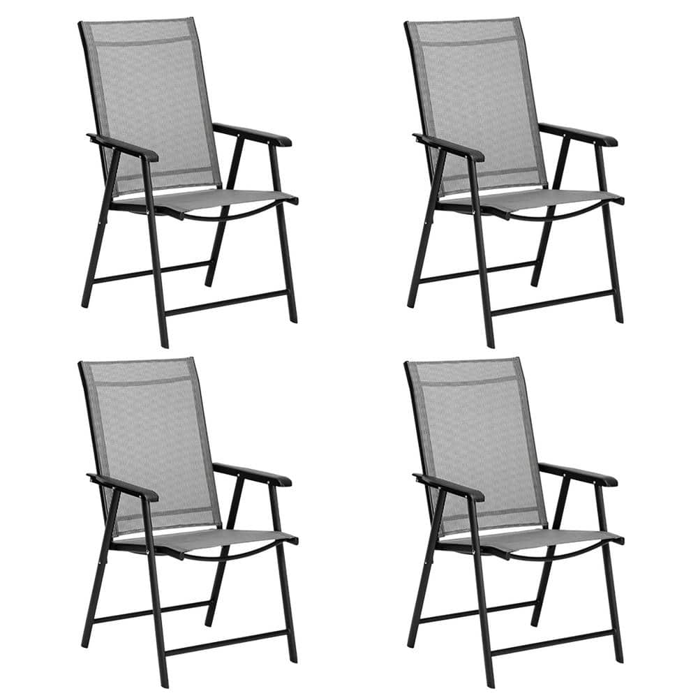 Casainc Folding Metal Outdoor Dining Chair In Light Gray 4 Pack Orby W41929517 The Home Depot