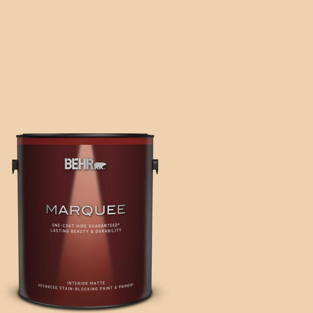 Behr Marquee 1 Gal Mq3 43 Ceramic Beige One Coat Hide Matte Interior Paint Primer 145001 The Home Depot