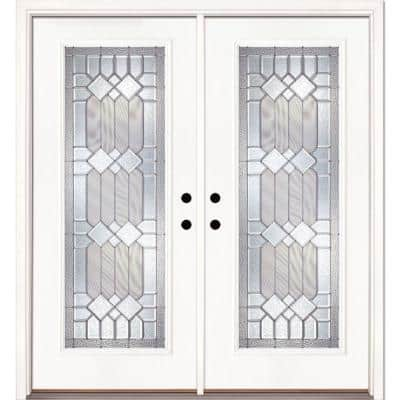 66 in. x 81.625 in. Mission Pointe Zinc Full Lite Unfinished Smooth Left-Hand Fiberglass Double Prehung Front Door
