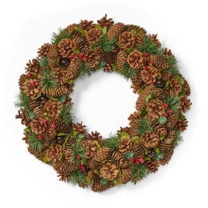 18.5 in. Natural Brown Glitter Unlit Artificial Christmas Wreath with Pine Cones