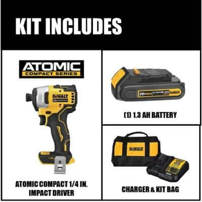 ATOMIC 20-Volt MAX Cordless Brushless Compact 1/4 in. Impact Driver, (1) 20-Volt 1.3Ah Battery, Charger & Bag