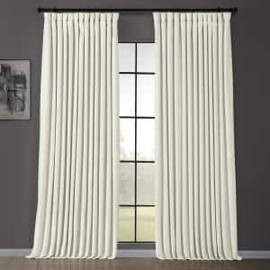 Off White Velvet Rod Pocket Blackout Curtain - 100 in. W x 120 in. L