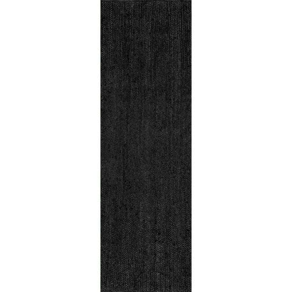 Nuloom Rigo Chunky Loop Jute Black 3 Ft X 6 Ft Runner Tajt03c 2606 The Home Depot