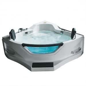 60 in. Acrylic Flatbottom Corner Combination Whirlpool Bathtub in White