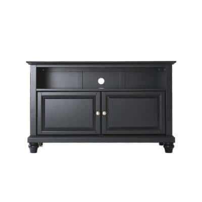 Cambridge 42 in. Black Wood TV Stand Fits TVs Up to 44 in. with Storage Doors