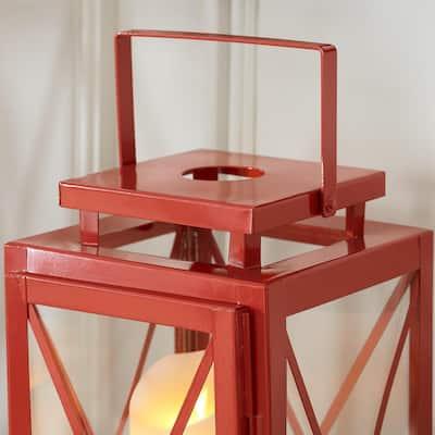 Chili Red Metal Candle Hanging or Tabletop Lantern (Set of 2)