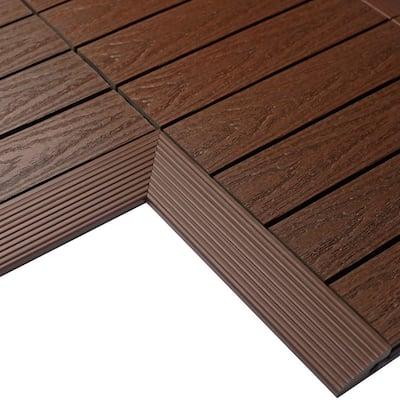 1/6 ft. x 1 ft. Quick Deck Composite Deck Tile Inside Corner Fascia in California Redwood (2-Pieces/Box)