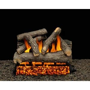 American Gas Log Dundee Oak 30 In Vented Natural Gas Fireplace Log Set With Complete Kit Match Lit Do30hdmtch The Home Depot