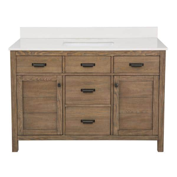 Home Decorators Collection Stanhope 49 In W X 22 In D Vanity In Reclaimed Oak With Engineered Stone Vanity Top In Crystal White With White Sink Snovt4922d The Home Depot