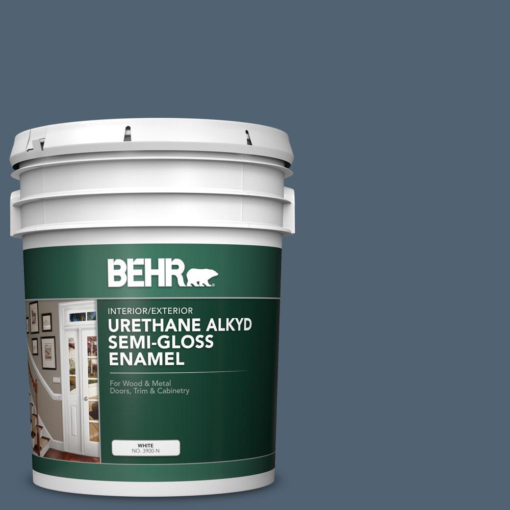 5 gal. #T17-17 Midnight Show Urethane Alkyd Semi-Gloss Enamel Interior/Exterior Paint