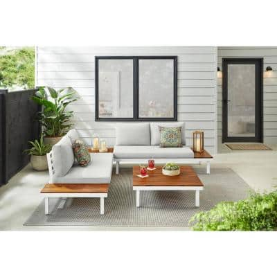 Eastdale White 4-Pieces Metal Sofa Outdoor Conversation Set with Shadow Gray Cushion