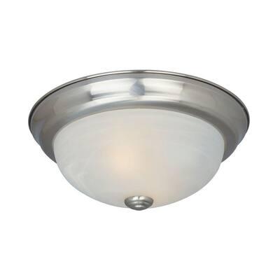 """Decorative Flushmount 14"""" Medium 2-Light Satin Platinum Ceiling Flush Mount"""