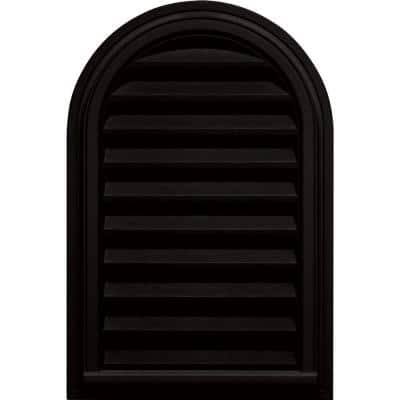 22 in. x 32 in. Round Top Plastic Built-in Screen Gable Louver Vent #002 Black