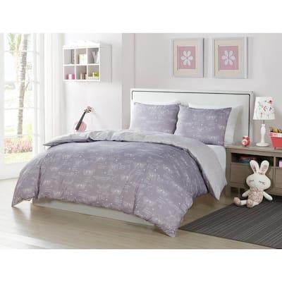 Malar Butterfly 3-Piece Grey-White Full Comforter Set